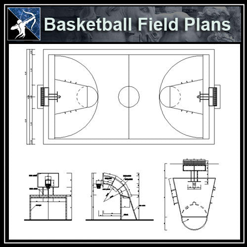 【Architecture CAD Projects】Basketball field CAD plans ,CAD Blocks