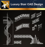 Luxury Stair Design CAD Drawings - Architecture Autocad Blocks,CAD Details,CAD Drawings,3D Models,PSD,Vector,Sketchup Download