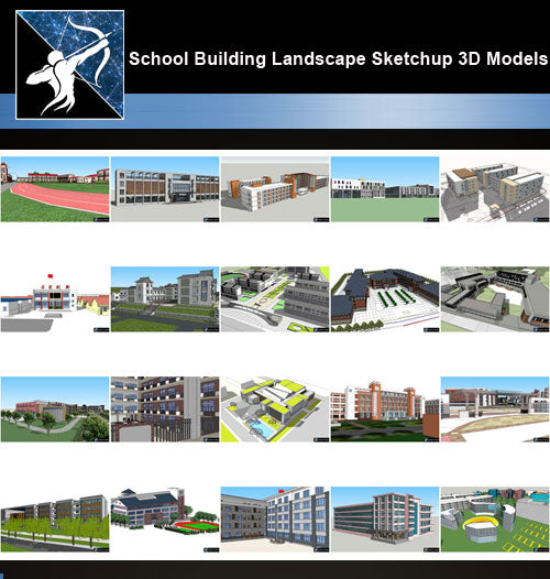 ★Best 20 Types of School Sketchup 3D Models Collection V.1 - Architecture Autocad Blocks,CAD Details,CAD Drawings,3D Models,PSD,Vector,Sketchup Download