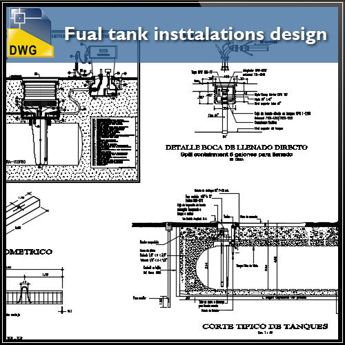 【CAD Details】Fual tank insttalations design and detail guide in autocad dwg files - Architecture Autocad Blocks,CAD Details,CAD Drawings,3D Models,PSD,Vector,Sketchup Download