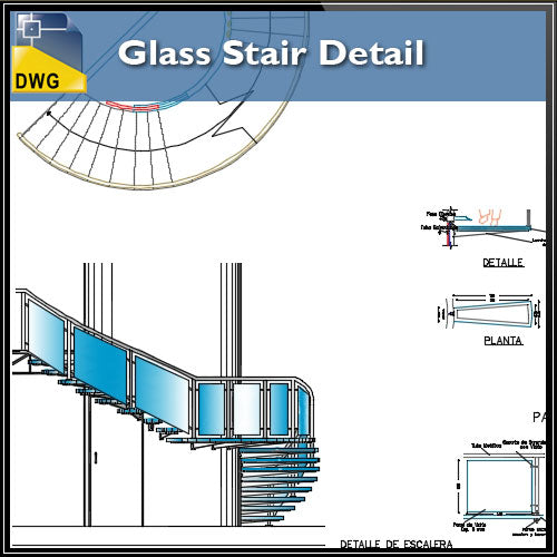 【CAD Details】Glass Stair CAD Detail - Architecture Autocad Blocks,CAD Details,CAD Drawings,3D Models,PSD,Vector,Sketchup Download
