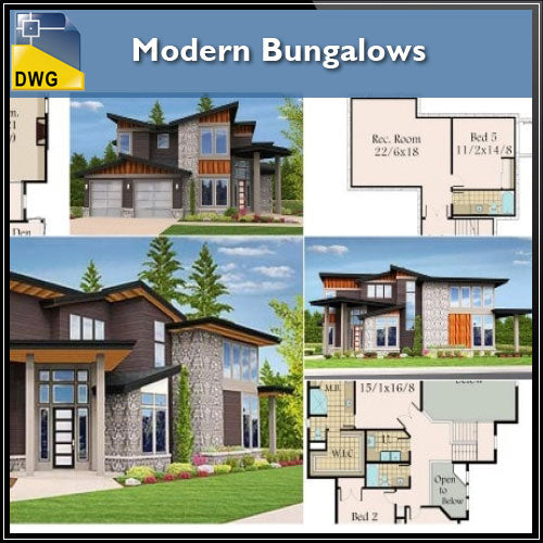 【Architecture CAD Projects】Modern Bungalows Design Plan,Villa CAD Drawings V.2 - Architecture Autocad Blocks,CAD Details,CAD Drawings,3D Models,PSD,Vector,Sketchup Download