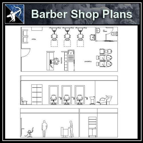 【Architecture CAD Projects】Barber Shop CAD plan CAD Blocks - Architecture Autocad Blocks,CAD Details,CAD Drawings,3D Models,PSD,Vector,Sketchup Download