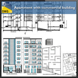 【Architecture CAD Projects】Apartment with Commercial building - Architecture Autocad Blocks,CAD Details,CAD Drawings,3D Models,PSD,Vector,Sketchup Download