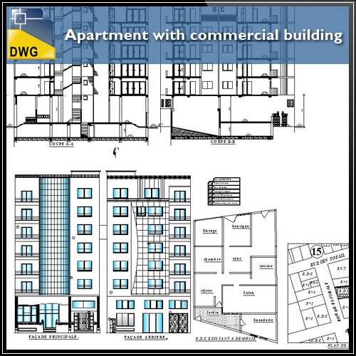 【Architecture CAD Projects】Apartment with Commercial building