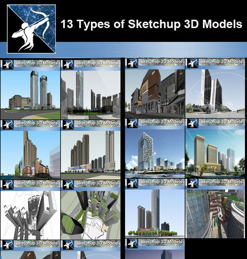 ★Best 13 Types of Skyscraper Architecture and tall buildings Sketchup 3D Models Collection(Recommanded!!)