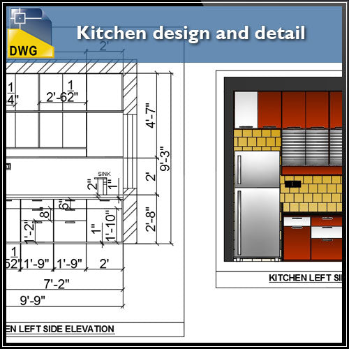 【Interior Design CAD Drawings】@Kitchen design and CAD Details