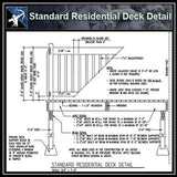 ★Free CAD Details-Standard Residential Deck Detail - Architecture Autocad Blocks,CAD Details,CAD Drawings,3D Models,PSD,Vector,Sketchup Download