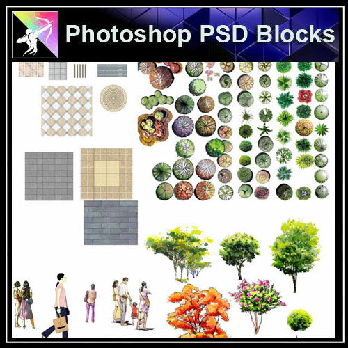 【Photoshop PSD Landscape Blocks】Landscape plan,paving,people Blocks - Architecture Autocad Blocks,CAD Details,CAD Drawings,3D Models,PSD,Vector,Sketchup Download