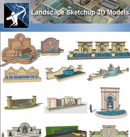 ★Sketchup 3D Models-Landscape Wall Waterfall  Sketchup Models - Architecture Autocad Blocks,CAD Details,CAD Drawings,3D Models,PSD,Vector,Sketchup Download