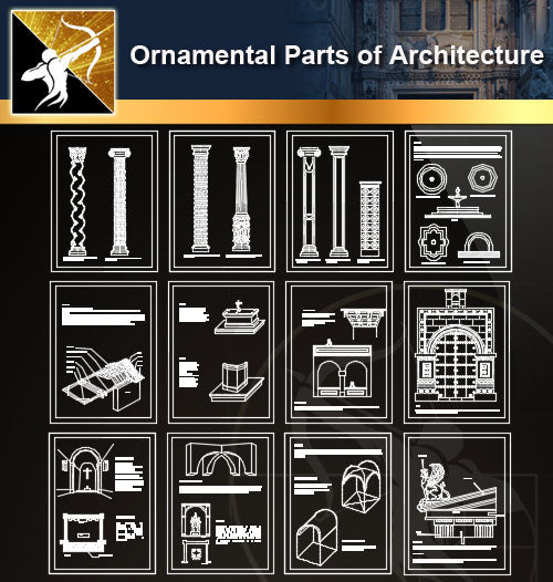 Ornamental Parts of Architecture 1 - Architecture Autocad Blocks,CAD Details,CAD Drawings,3D Models,PSD,Vector,Sketchup Download