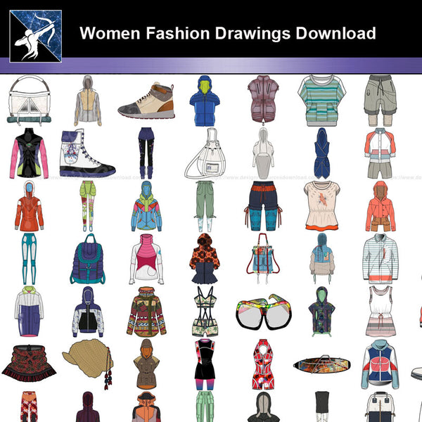 ★Women Fashion Drawings Download  V.2-Women Dresses,Tops,Skirts,Shoes Design Drawings - Architecture Autocad Blocks,CAD Details,CAD Drawings,3D Models,PSD,Vector,Sketchup Download