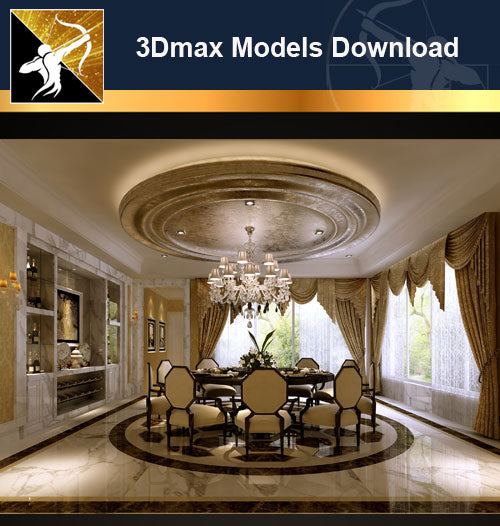 ★Download 3D Max Decoration Models -Dining Room V.2 - Architecture Autocad Blocks,CAD Details,CAD Drawings,3D Models,PSD,Vector,Sketchup Download