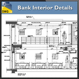 【Architecture CAD Projects】Bank Office Interior Design CAD Blocks,Elevation Drawings