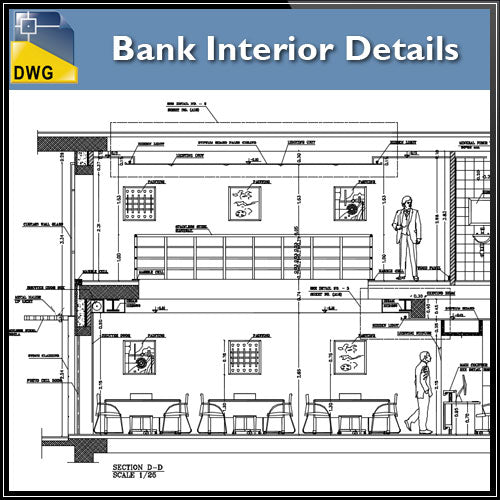 【Architecture CAD Projects】Bank Office Interior Design CAD