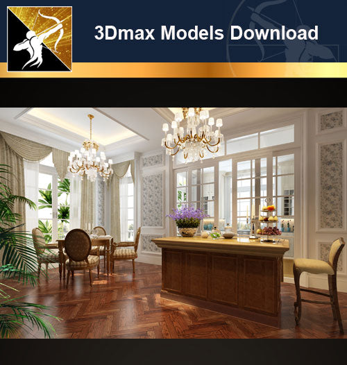 ★Download 3D Max Decoration Models -Dining Room V.6 - Architecture Autocad Blocks,CAD Details,CAD Drawings,3D Models,PSD,Vector,Sketchup Download