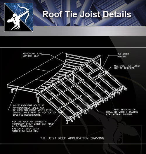 【Roof Details】Roof Tie Joist Details - Architecture Autocad Blocks,CAD Details,CAD Drawings,3D Models,PSD,Vector,Sketchup Download