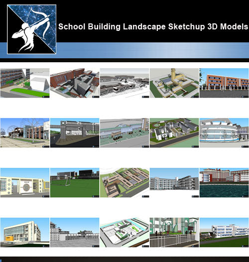 ★Best 20 Types of School Sketchup 3D Models Collection V.8 - Architecture Autocad Blocks,CAD Details,CAD Drawings,3D Models,PSD,Vector,Sketchup Download