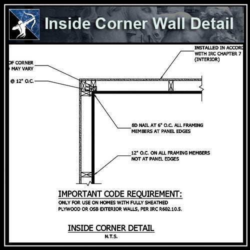 ★Free CAD Details-Inside Corner Wall Detail - Architecture Autocad Blocks,CAD Details,CAD Drawings,3D Models,PSD,Vector,Sketchup Download