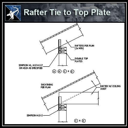 ★Free CAD Details-Rafter Tie to Top Plate - Architecture Autocad Blocks,CAD Details,CAD Drawings,3D Models,PSD,Vector,Sketchup Download