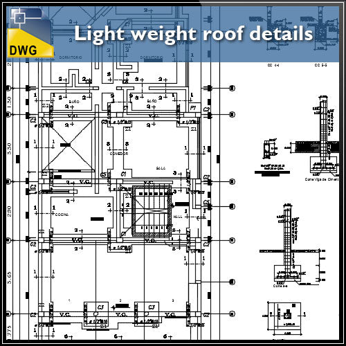 【CAD Details】Light weight roof architecture structure CAD Details - Architecture Autocad Blocks,CAD Details,CAD Drawings,3D Models,PSD,Vector,Sketchup Download