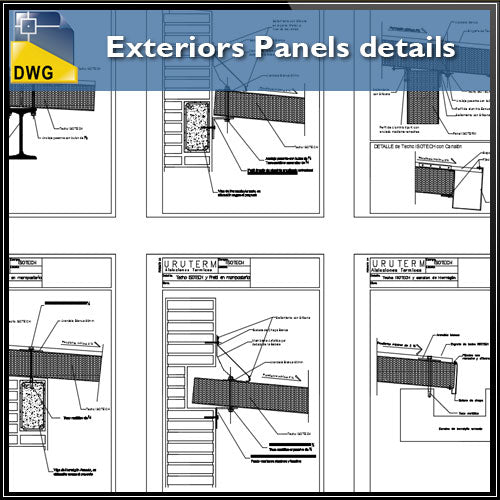 【CAD Details】Exteriors Panels CAD details dwg files - Architecture Autocad Blocks,CAD Details,CAD Drawings,3D Models,PSD,Vector,Sketchup Download