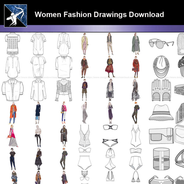 ★Women Fashion Drawings Download  V.3-Women Dresses,Tops,Skirts,Shoes Design Drawings