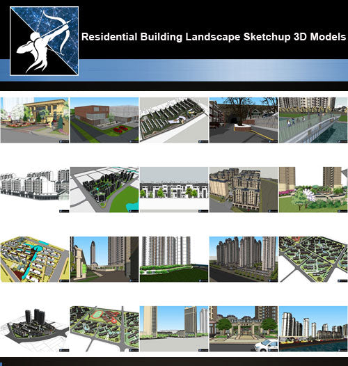 ★Best 20 Types of Residential Building Landscape Sketchup 3D Models Collection V.1 - Architecture Autocad Blocks,CAD Details,CAD Drawings,3D Models,PSD,Vector,Sketchup Download