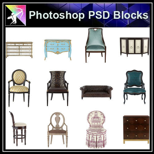 【Photoshop PSD Blocks】Luxury Furniture PSD Blocks 2 - Architecture Autocad Blocks,CAD Details,CAD Drawings,3D Models,PSD,Vector,Sketchup Download