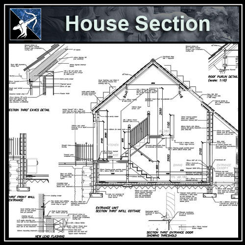 【Architecture Details】House Section - Architecture Autocad Blocks,CAD Details,CAD Drawings,3D Models,PSD,Vector,Sketchup Download