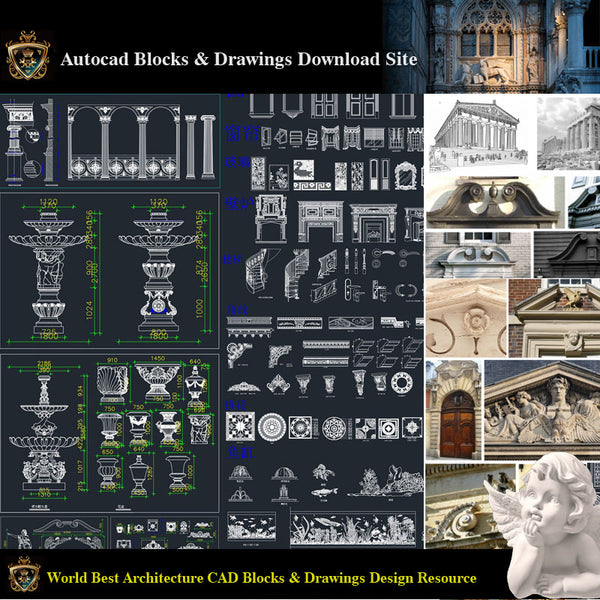 【Architectural Decoration CAD Blocks Bundle】Neoclassical and Romantic Architecture Design elements - Architecture Autocad Blocks,CAD Details,CAD Drawings,3D Models,PSD,Vector,Sketchup Download