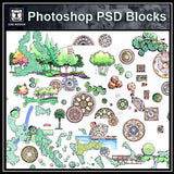 【Photoshop PSD Landscape Blocks】Landscape Design ,Paving,Tree Blocks