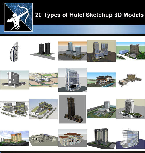 ★Best 20 Types of Hotel Sketchup 3D Models Collection V.1 (Recommanded!!) - Architecture Autocad Blocks,CAD Details,CAD Drawings,3D Models,PSD,Vector,Sketchup Download