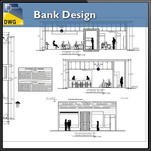 【Architecture CAD Projects】Bank Design CAD Blocks,Elevation Drawings