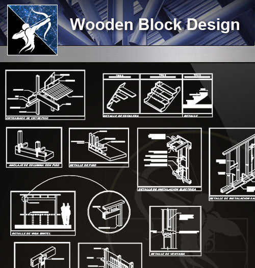 【Wood Constructure Details】Wooden Block Design - Architecture Autocad Blocks,CAD Details,CAD Drawings,3D Models,PSD,Vector,Sketchup Download
