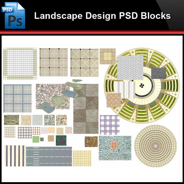 ★Photoshop PSD Blocks-Landscape Design PSD Blocks-2D Paving PSD Blocks - Architecture Autocad Blocks,CAD Details,CAD Drawings,3D Models,PSD,Vector,Sketchup Download