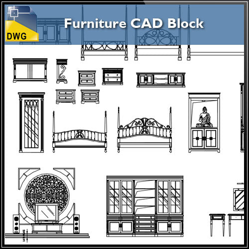 【Interior Design CAD Drawings】@Furniture Cad blocks, CAD Drawings
