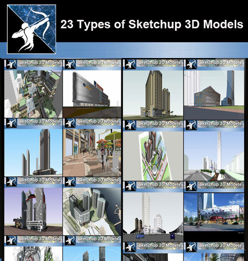 ★Best 23 Types of Commercial Building Sketchup 3D Models Collection(Recommanded!!) - Architecture Autocad Blocks,CAD Details,CAD Drawings,3D Models,PSD,Vector,Sketchup Download