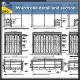 【Interior Design CAD Drawings】@Wardrobe detail and section dwg files - Architecture Autocad Blocks,CAD Details,CAD Drawings,3D Models,PSD,Vector,Sketchup Download