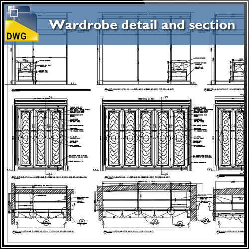 【Interior Design CAD Drawings】@Wardrobe detail and section dwg files