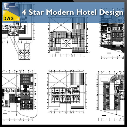 【Architecture CAD Projects】4 Star Modern Hotel Design CAD Drawings - Architecture Autocad Blocks,CAD Details,CAD Drawings,3D Models,PSD,Vector,Sketchup Download