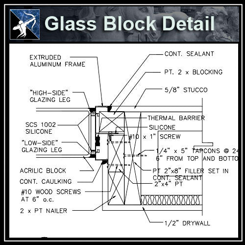 ★Free CAD Details-Glass Block Detail - Architecture Autocad Blocks,CAD Details,CAD Drawings,3D Models,PSD,Vector,Sketchup Download