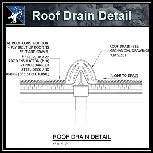 ★Free CAD Details-Roof Drain Detail