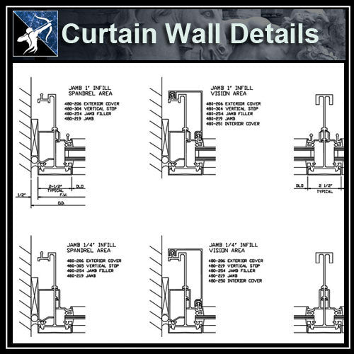 【Architecture Details】Curtain Wall Details - Architecture Autocad Blocks,CAD Details,CAD Drawings,3D Models,PSD,Vector,Sketchup Download