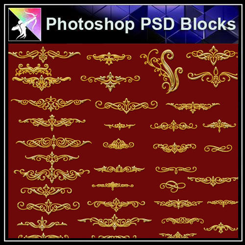 【Photoshop PSD Blocks】Gold Decorative Borders 2 - Architecture Autocad Blocks,CAD Details,CAD Drawings,3D Models,PSD,Vector,Sketchup Download