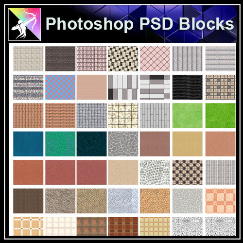 Photoshop PSD Landscape Paving Blocks - Architecture Autocad Blocks,CAD Details,CAD Drawings,3D Models,PSD,Vector,Sketchup Download