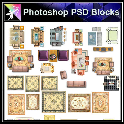 【Photoshop PSD Blocks】Sofa Blocks - Architecture Autocad Blocks,CAD Details,CAD Drawings,3D Models,PSD,Vector,Sketchup Download