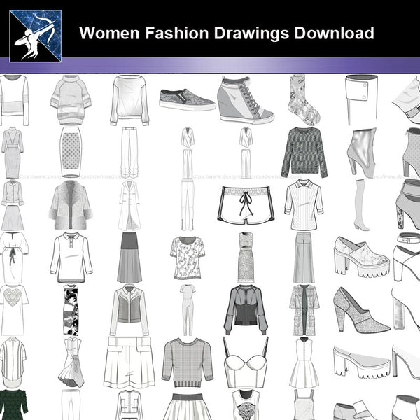 ★Women Fashion Drawings Download  V.6-Women Dresses,Tops,Skirts,Shoes Design Drawings