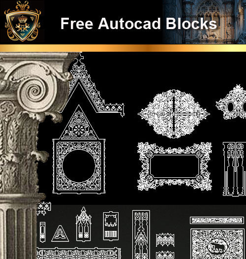 ★Free CAD Blocks-Architecture Decorative Elements V.9 - Architecture Autocad Blocks,CAD Details,CAD Drawings,3D Models,PSD,Vector,Sketchup Download