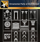 Ornamental Parts of Architecture 2 - Architecture Autocad Blocks,CAD Details,CAD Drawings,3D Models,PSD,Vector,Sketchup Download